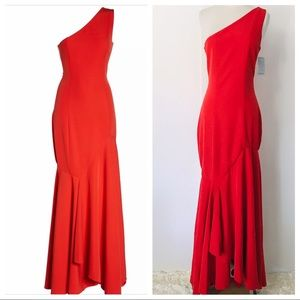 New JAY GODFREY Carmen One Shoulder Red Gown 4-6